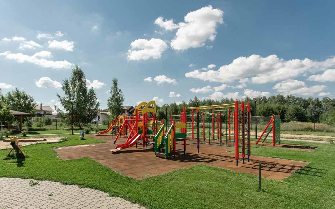 park playground with a nice blue cloudy sky